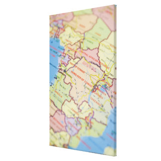 Map, close-up canvas print