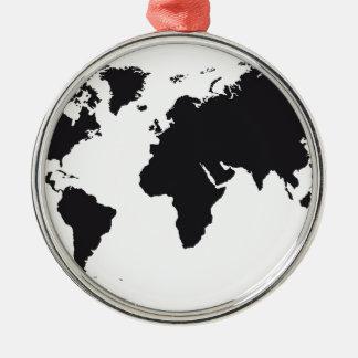 map design Silver-Colored round decoration