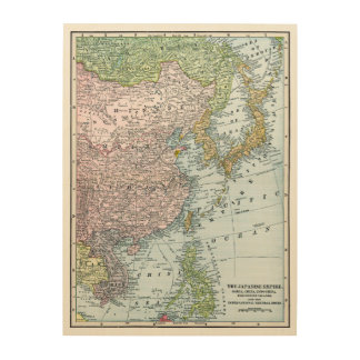 MAP: EAST ASIA, 1907 WOOD WALL DECOR