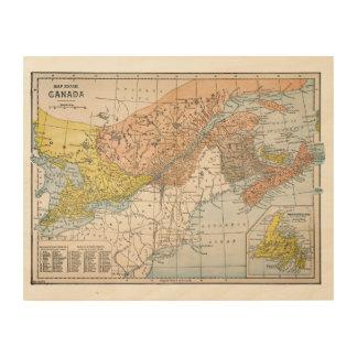 MAP: EASTERN CANADA WOOD WALL DECOR