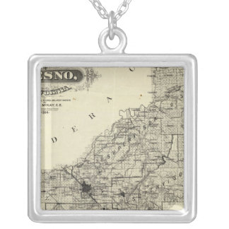 Map Fresno County, California Silver Plated Necklace
