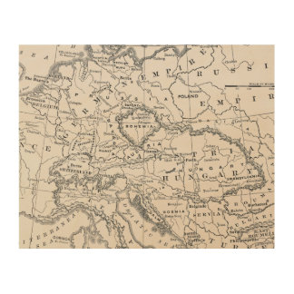 MAP: GERMANY AND AUSTRIA WOOD PRINT