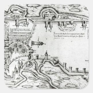 Map illustrating La Rochelle occupied Square Sticker