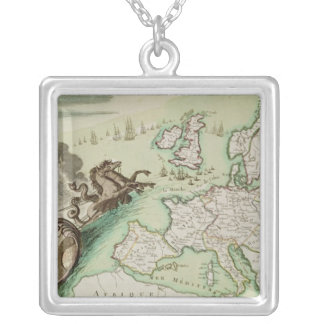 Map illustrating the Naval Attack on England Silver Plated Necklace