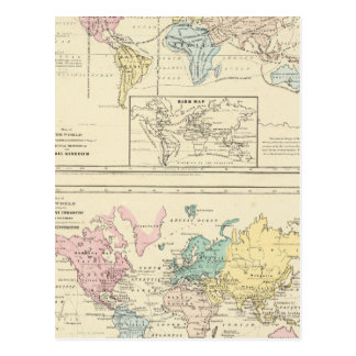 Map in color of The World Postcard