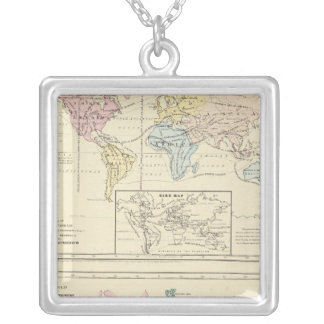 Map in color of The World Silver Plated Necklace