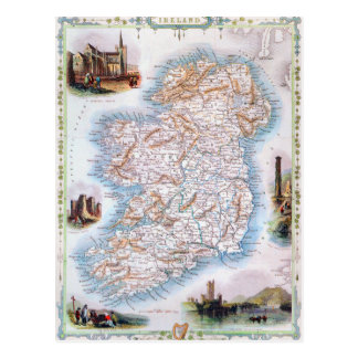 Map: Ireland, 1851 Postcard