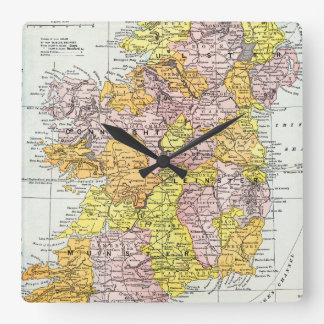 MAP: IRELAND, c1890 Square Wall Clock
