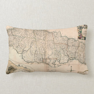 MAP: JAMAICA, 1755 2 LUMBAR CUSHION