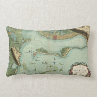 MAP: JAMAICA, 1756 LUMBAR CUSHION