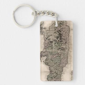 MAP: JAMAICA, 1763 Double-Sided RECTANGULAR ACRYLIC KEY RING