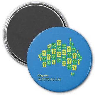 Map made of Aussie thongs 7.5 Cm Round Magnet