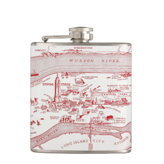 MAP: MANHATTAN, c1935 Hip Flask