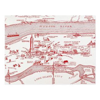 MAP: MANHATTAN, c1935 Postcard