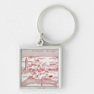 MAP: MANHATTAN, c1935 Silver-Colored Square Key Ring