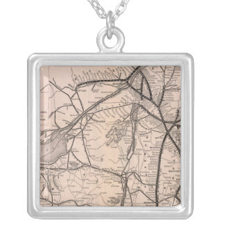 Map Montreal and Boston Air Line Silver Plated Necklace