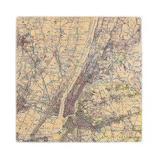 Map: New York Area, 1906 Wood Coaster