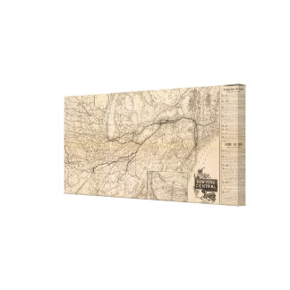 Map New York Central and Hudson River Railroad Canvas Print