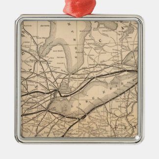 Map New York Central and Hudson River Railroad Christmas Ornament