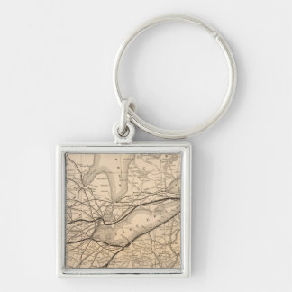 Map New York Central and Hudson River Railroad Silver-Colored Square Key Ring