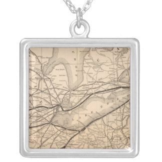 Map New York Central and Hudson River Railroad Silver Plated Necklace