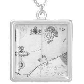 Map No.10 showing the route of the Armada fleet Silver Plated Necklace