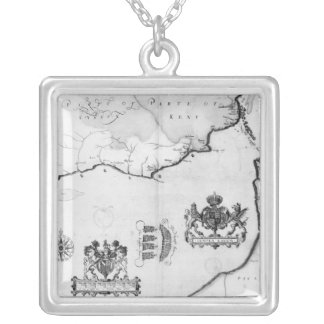 Map No.8 showing the route of the Armada fleet Silver Plated Necklace