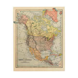 MAP: NORTH AMERICA, 1890 WOOD WALL DECOR