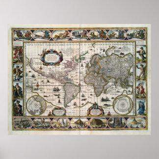 Map Nova totius terrarum orbis geographica (1635) Poster