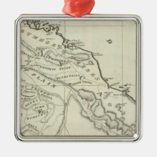 Map of Abyssinia Silver-Colored Square Decoration