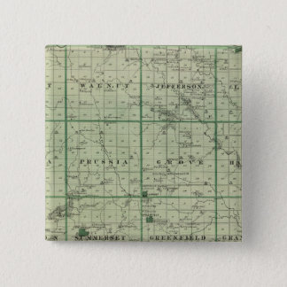 Map of Adair County, State of Iowa 15 Cm Square Badge