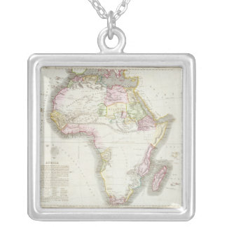 Map of Africa, 1821 Silver Plated Necklace