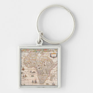 Map of Africa 3 Silver-Colored Square Key Ring