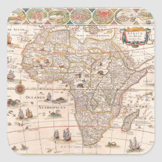 Map of Africa 3 Square Sticker