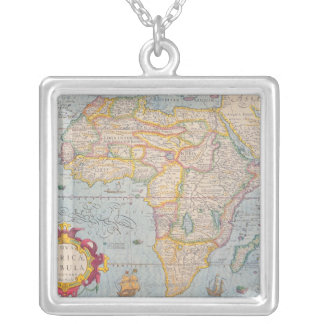 Map of Africa 4 Silver Plated Necklace