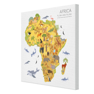 Map of Africa | Flora & Fauna Canvas Print