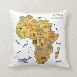 Map of Africa | Flora & Fauna Cushion