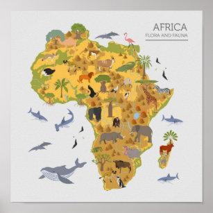 Map of Africa   Flora & Fauna Poster