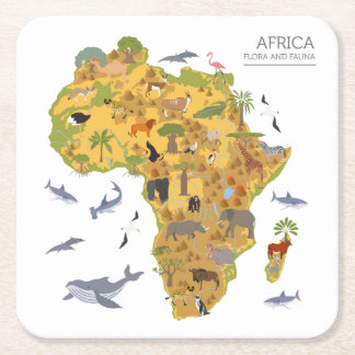 Map of Africa | Flora & Fauna Square Paper Coaster