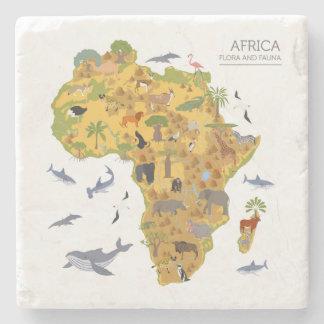 Map of Africa | Flora & Fauna Stone Coaster