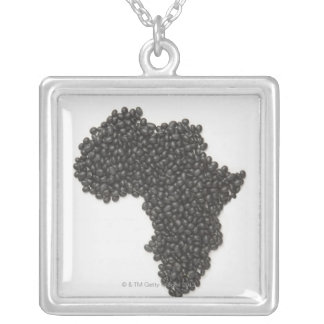 Map of Africa made of Black Beans Silver Plated Necklace
