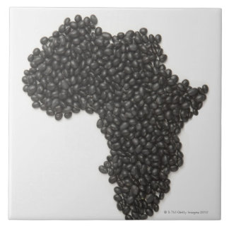 Map of Africa made of Black Beans Tile