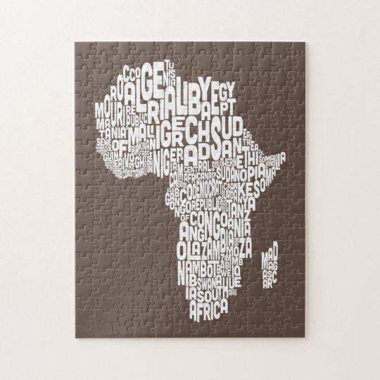 Map of Africa Map Text Art Jigsaw Puzzle