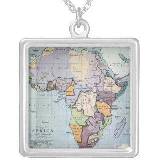 Map of Africa showing Treaty Boundaries, 1891 Silver Plated Necklace