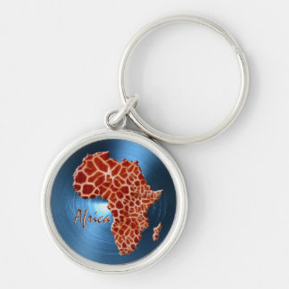 Map of AFRICA Steel-Blue Giraffe Spot Series Silver-Colored Round Key Ring
