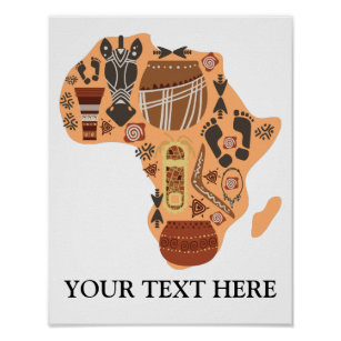 Map of Africa with African Culture Heritage Poster
