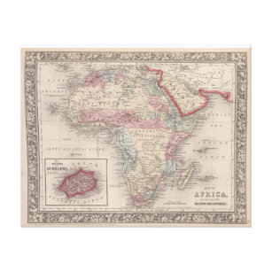 Map of Africa with St Helena Canvas Print
