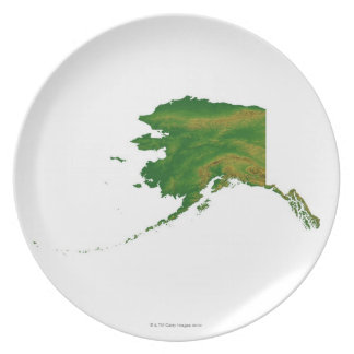 Map of Alaska 2 Party Plate