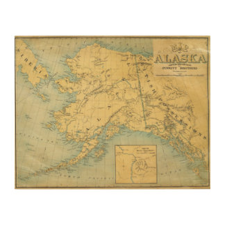 Map Of Alaska Wood Wall Art