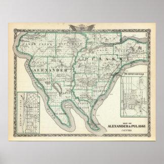 Map of Alexander & Pulaski counties Poster